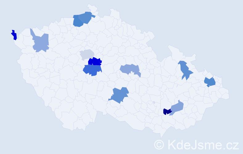 Příjmení: 'Černecký', počet výskytů 27 v celé ČR
