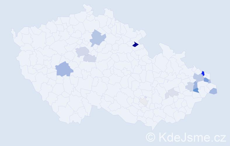 Příjmení: 'Gavláková', počet výskytů 51 v celé ČR