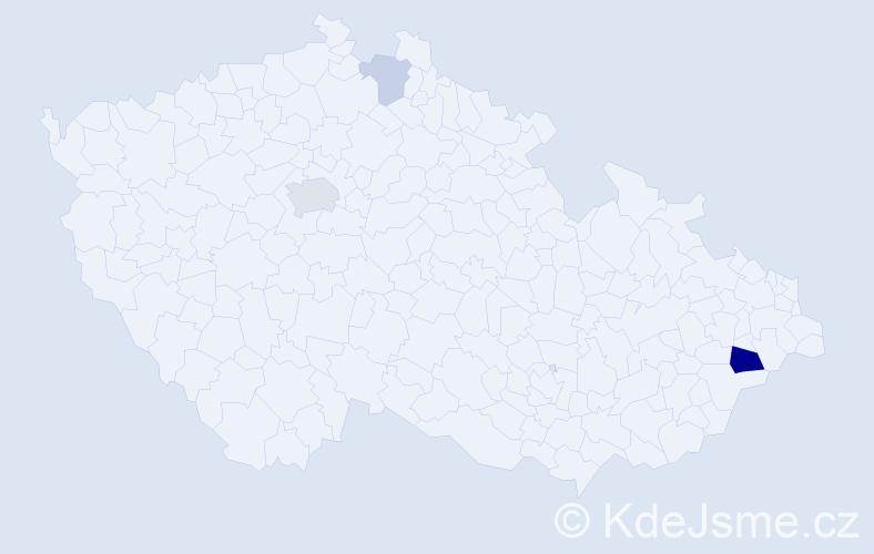 Příjmení: 'Kejhar', počet výskytů 8 v celé ČR