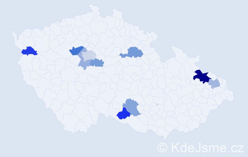 Příjmení: 'Bátor', počet výskytů 20 v celé ČR