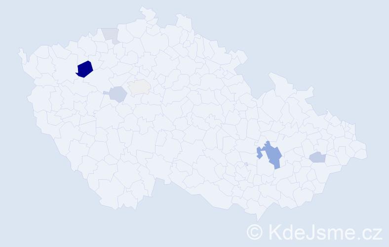 Příjmení: 'Hanslíček', počet výskytů 12 v celé ČR