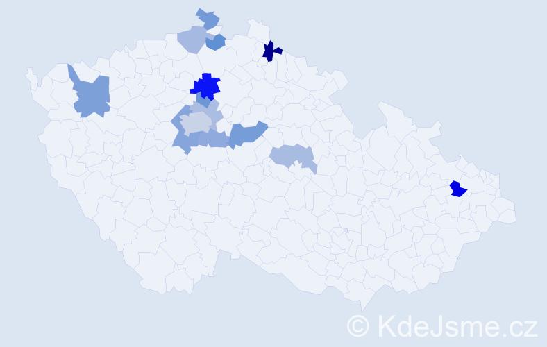 Příjmení: 'Dzianová', počet výskytů 25 v celé ČR