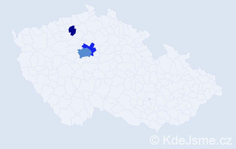 Příjmení: 'Gollerová', počet výskytů 14 v celé ČR