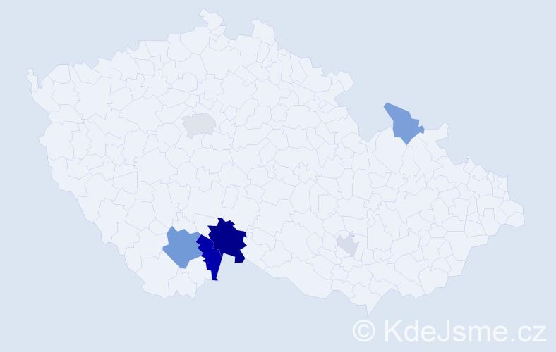 Příjmení: 'Hanefl', počet výskytů 13 v celé ČR