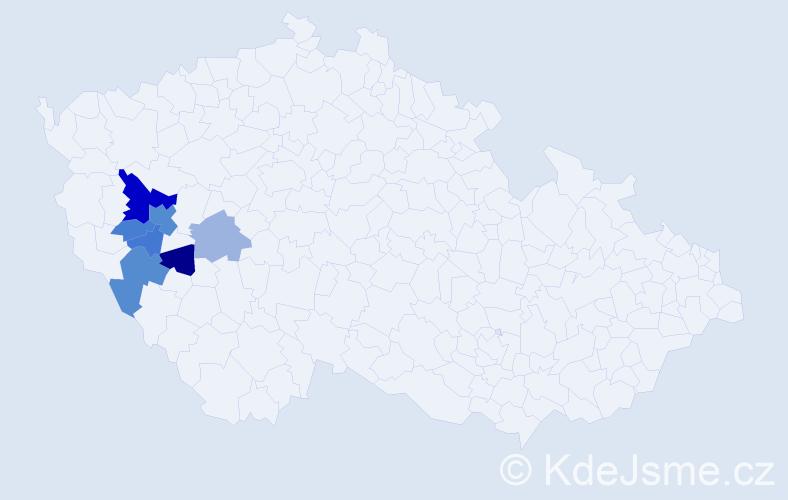 Příjmení: 'Gaigerová', počet výskytů 15 v celé ČR