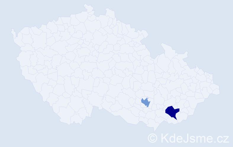 Příjmení: 'Harkabuzíková', počet výskytů 4 v celé ČR