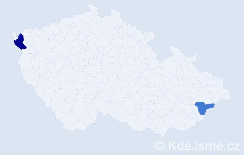 Příjmení: 'Mami', počet výskytů 5 v celé ČR