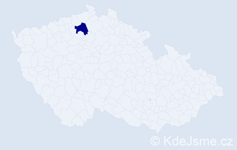 """Příjmení: '""""Červená Tichá""""', počet výskytů 1 v celé ČR"""