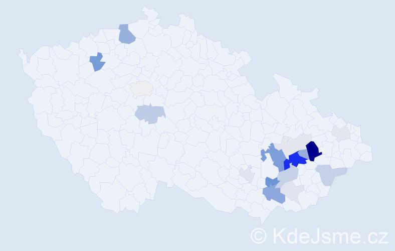 Příjmení: 'Karalo', počet výskytů 69 v celé ČR