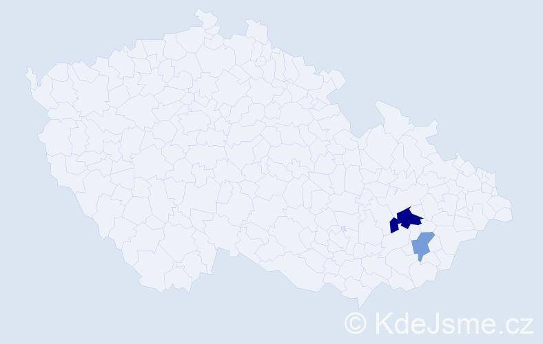 Příjmení: 'Hořecký', počet výskytů 4 v celé ČR