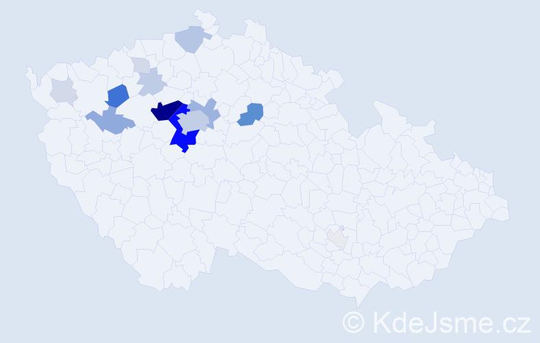 Příjmení: 'Kácl', počet výskytů 67 v celé ČR
