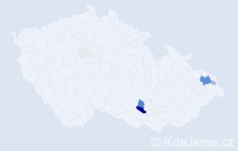 Příjmení: 'Čaš', počet výskytů 12 v celé ČR