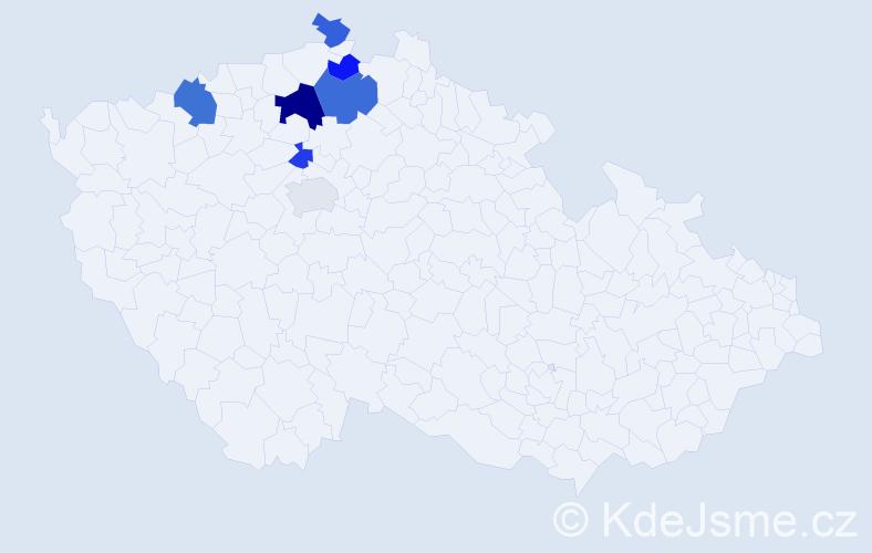 Příjmení: 'Garabová', počet výskytů 11 v celé ČR