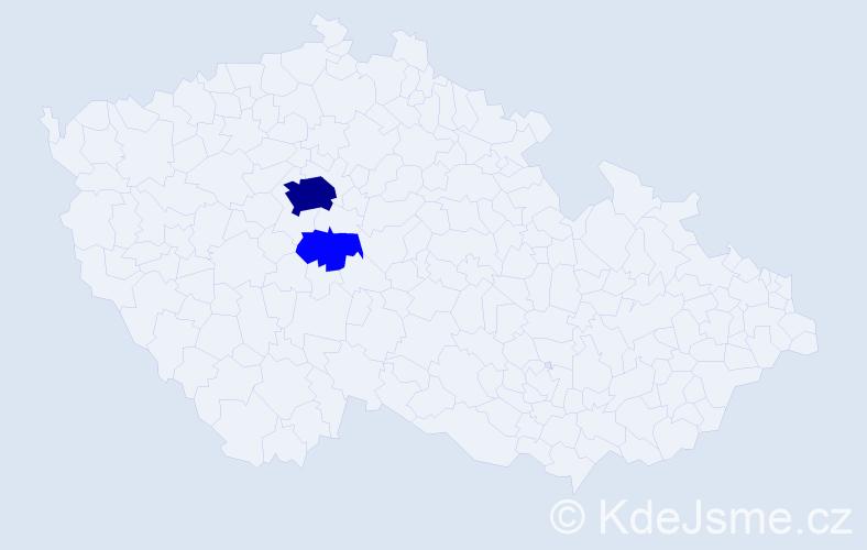 Příjmení: 'Hanovská', počet výskytů 16 v celé ČR