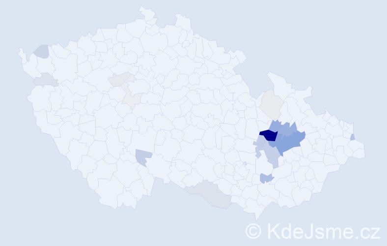 Příjmení: 'Čunderle', počet výskytů 78 v celé ČR