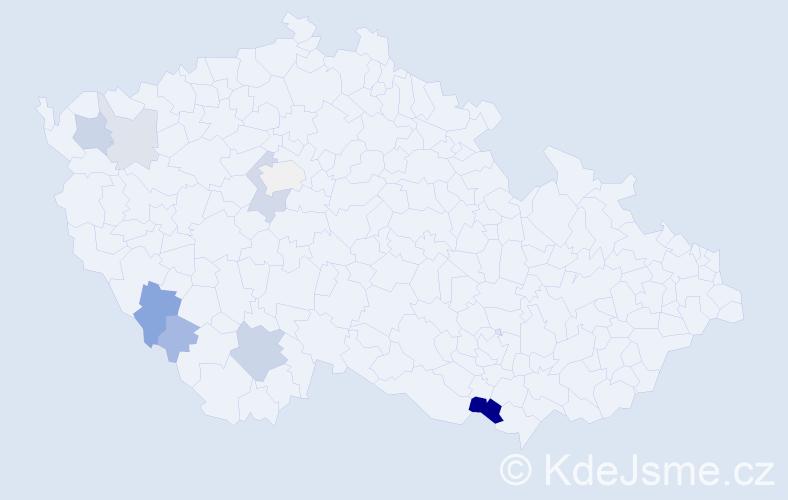 Příjmení: 'Bošiak', počet výskytů 19 v celé ČR