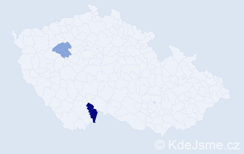 Příjmení: 'Hainböcková', počet výskytů 3 v celé ČR