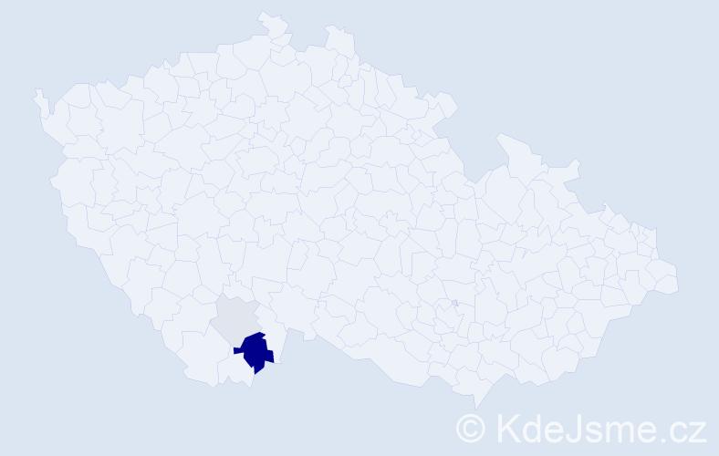 Příjmení: 'Deberová', počet výskytů 6 v celé ČR