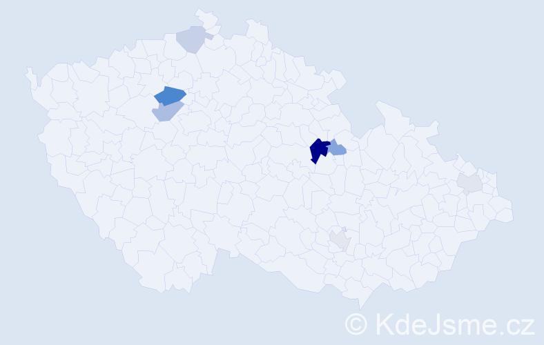Příjmení: 'Kapitančík', počet výskytů 14 v celé ČR