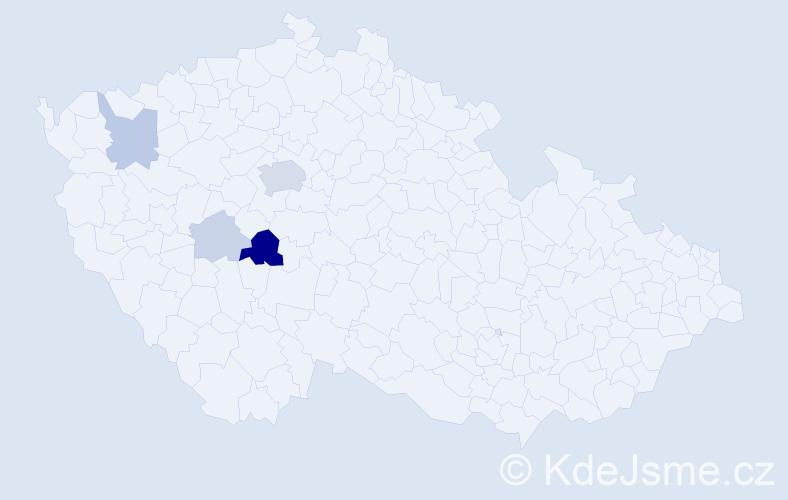 Příjmení: 'Kabyl', počet výskytů 27 v celé ČR