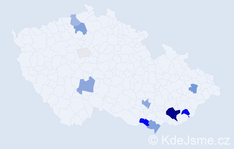 Příjmení: 'Kokavec', počet výskytů 16 v celé ČR