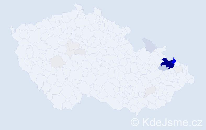 Příjmení: 'Gilík', počet výskytů 90 v celé ČR