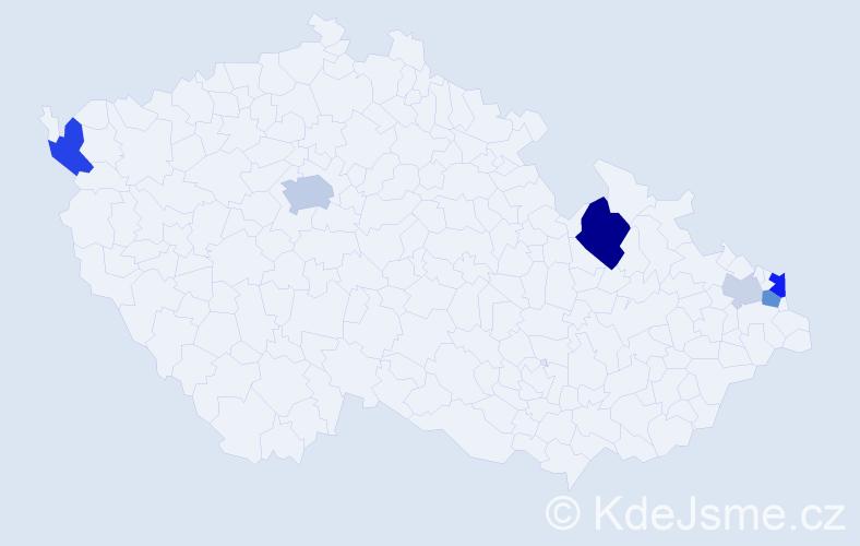 Příjmení: 'Cisariková', počet výskytů 16 v celé ČR