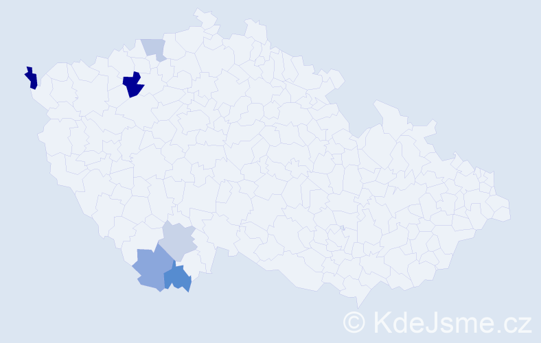 Příjmení: 'Bártko', počet výskytů 9 v celé ČR