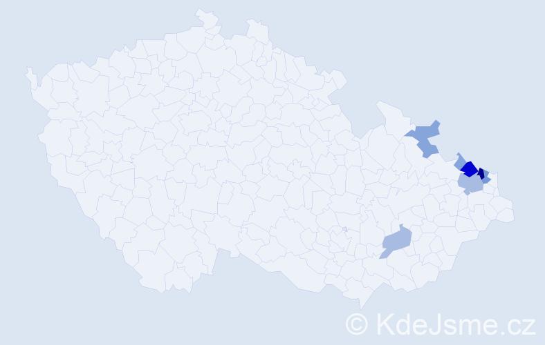 Příjmení: 'Gospoš', počet výskytů 27 v celé ČR