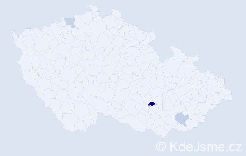 Příjmení: 'Besa', počet výskytů 5 v celé ČR