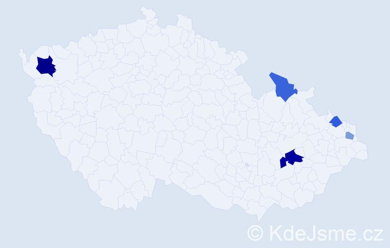 Příjmení: 'Havliček', počet výskytů 9 v celé ČR