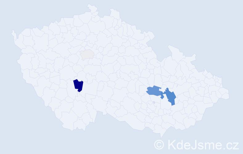 Příjmení: 'Klukáček', počet výskytů 9 v celé ČR