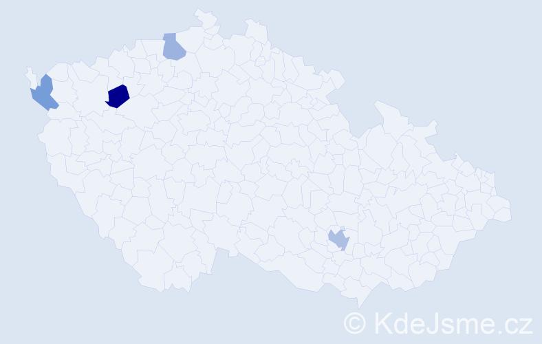 Příjmení: 'Abbes', počet výskytů 5 v celé ČR