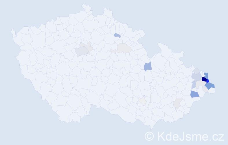 Příjmení: 'Klimszová', počet výskytů 105 v celé ČR