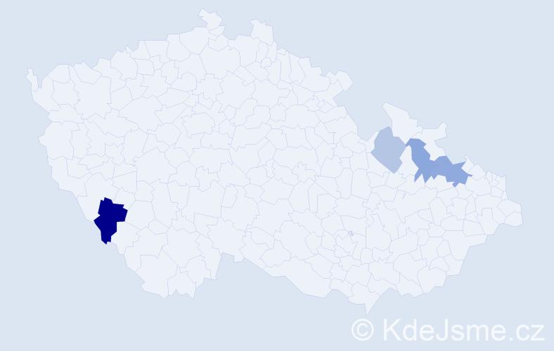 Příjmení: 'Lárišová', počet výskytů 7 v celé ČR