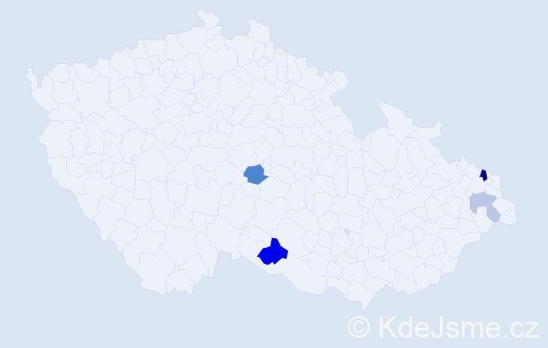 Příjmení: 'Cielepa', počet výskytů 7 v celé ČR