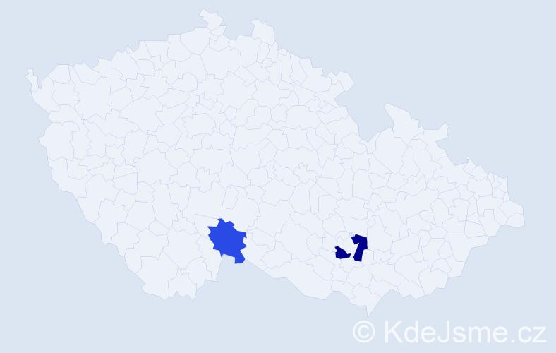 Příjmení: 'Klubko', počet výskytů 3 v celé ČR