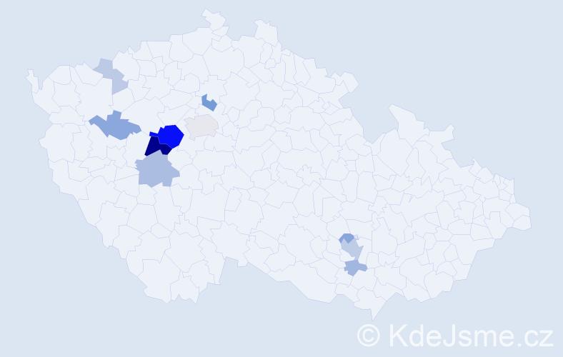 Příjmení: 'Justychová', počet výskytů 31 v celé ČR