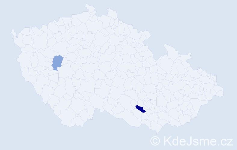 Příjmení: 'Halúzková', počet výskytů 10 v celé ČR