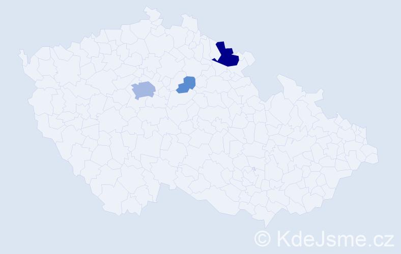 Příjmení: 'Kádrle', počet výskytů 14 v celé ČR