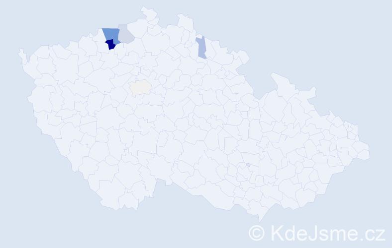 Příjmení: 'Lázová', počet výskytů 21 v celé ČR