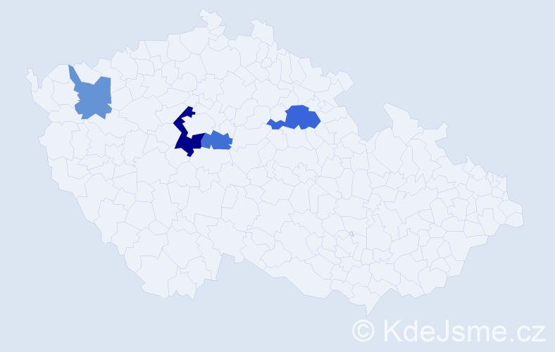 Příjmení: 'Kelbel', počet výskytů 7 v celé ČR
