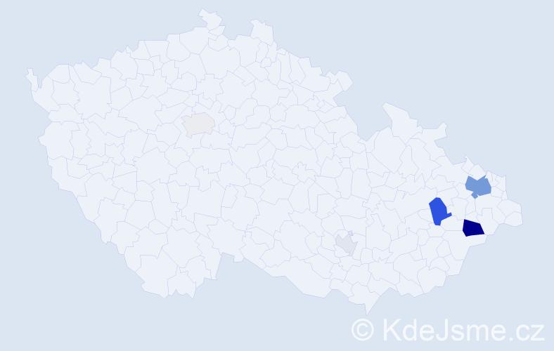 Příjmení: 'Cvečka', počet výskytů 19 v celé ČR