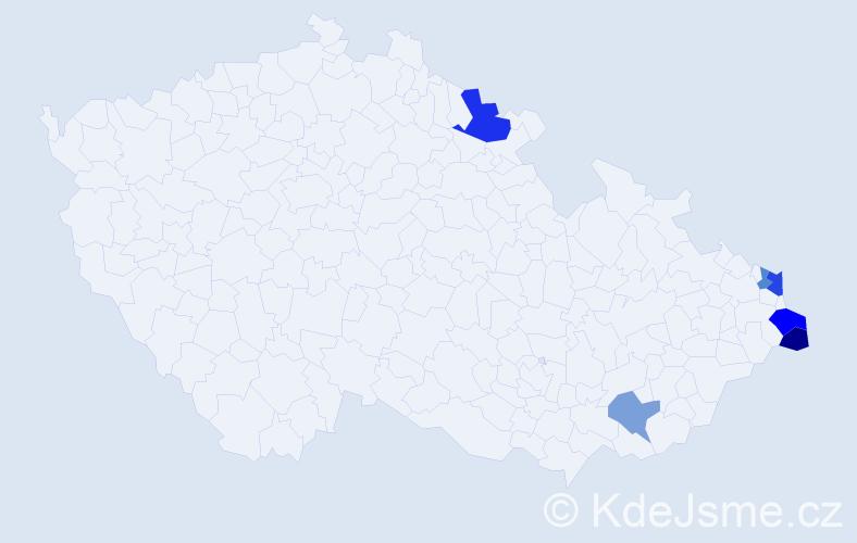 Příjmení: 'Lelkeš', počet výskytů 9 v celé ČR