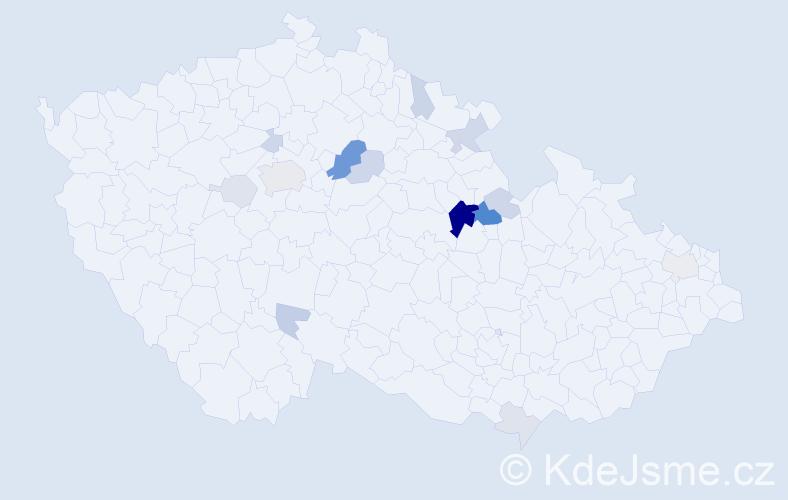 Příjmení: 'Jiráský', počet výskytů 43 v celé ČR
