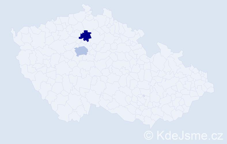 Příjmení: 'Diesel', počet výskytů 3 v celé ČR