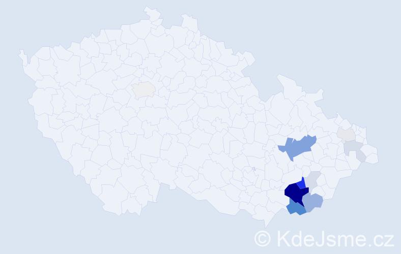 Příjmení: 'Achilles', počet výskytů 37 v celé ČR