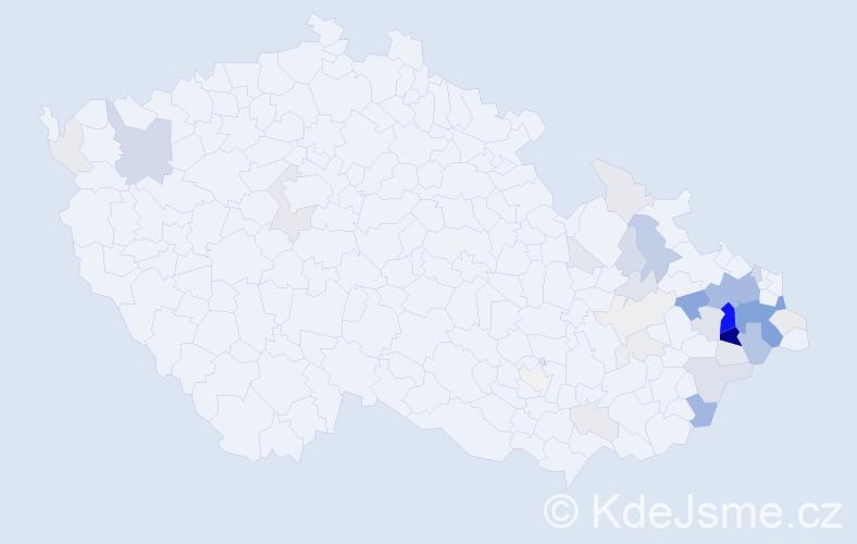 Příjmení: 'Harabiš', počet výskytů 159 v celé ČR