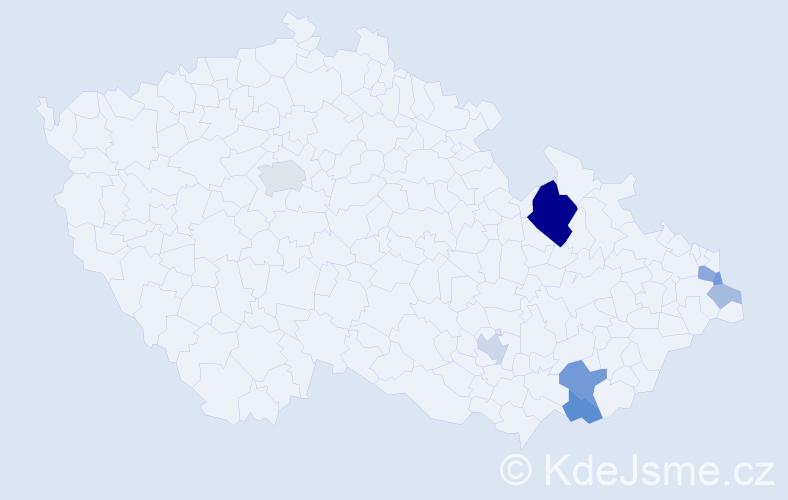 Příjmení: 'Čellárová', počet výskytů 22 v celé ČR