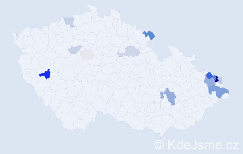Příjmení: 'Harviš', počet výskytů 32 v celé ČR